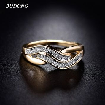 BUDONG Women Infinity Ring Valentine Day Fashion Love Band Gold-Color Ring Cubic Zirconia Wedding Accessories Jewelry XUR227