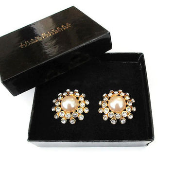 Joan Rivers Earrings, Rhinestone Earrings, Faux Pearl, Starburst Design, Christmas Holiday Jewelry, Vintage Earrings, Vintage Jewelry