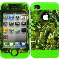Bumper Case for Iphone 4 Soft Lime Green Skin Hard Forest Camo Green Leaves Cover