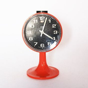 Vintage German Orange Black Round Alarm Clock - Lumen 60s
