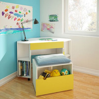 Nexera Taxi Childrens Mobile Corner Desk with Drawer and Mobile Storage Bench - White and Yellow
