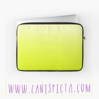 Chartreusey Ombre Laptop Case Sleeve Macbook Mac Computer Tech Gear PC Gift Chartreuse Neon Bright Yellow Green Cute Fun Unique Black Pouch