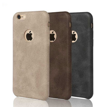 "New High-quality Classic Vintage Leather Case for iphone 5 5S SE / 6 6S 4.7""/ Plus 5.5"" luxury Ultra Slim Matte Phone Back Cover"