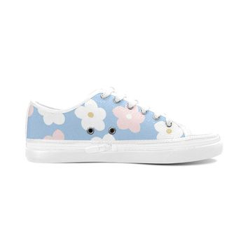 Blue Floral Theme White Women's Nonslip Canvas Shoes