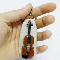 Happiness is violin, Handmade polymer clay violin keychain, Violin gift from Selsal