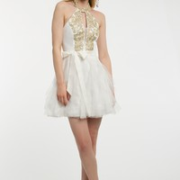 Applique Halter with Mesh Corkscrew Skirt Dress from Camille La Vie and Group USA