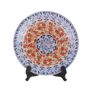 Beautiful Blue and White Floral Red Bird Porcelain Plate 16""