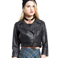 Tripp NYC Women's Crop Moto Jacket PVC l Punk Gothic Rock