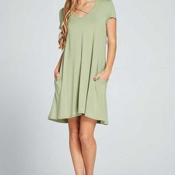 Lime N Chili Criss Cross Dress with Short Sleeves for Women in Sage LD8008-SAGE
