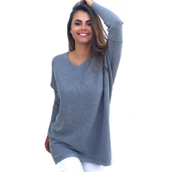 Moda 2016 Mulheres  Pullover over Fashion Knitwear Sweater Women's Female V Neck Loose  Autumn Winter pullovers christmas sweate