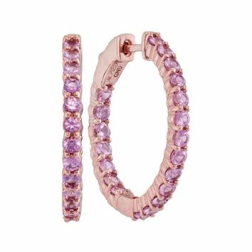 14kt Rose Gold Women's Round Pink Sapphire Inside Outside Hoop Earrings 2-1-4 Cttw - FREE Shipping (USA/CAN)