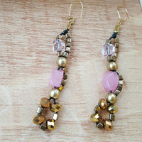 Metallic Earrings, 2 Tone Pink and Gold, Long Earrings, Spring Colors,  hypoallergenic, lightweight