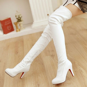 New  stiletto knee boots women black white brown stretch boots large size shoes women