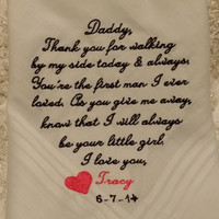 Mens Striped Dad Personalized Wedding Handkerchief. Gift for the Father of the Bride FREE Sparkling Gift Envelope included.