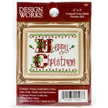 """Merry Christmas Ornament Counted Cross Stitch Kit-2""""""""X3"""""""""""