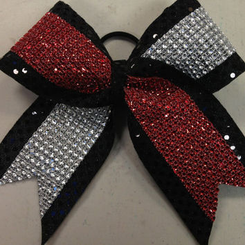 "3"" Red & Silver Rhinestone Cheer/Dance Bow Ribbon"