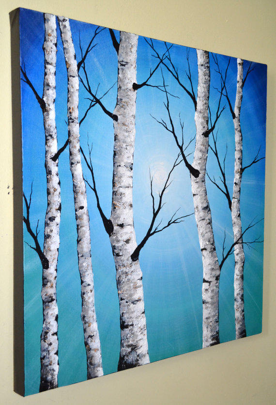 Original abstract contemporary art from zarasshop on etsy for Aspen tree wall mural