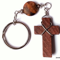 Wooden Cross Keychain, Wire Wrap Wood Cross Matte Outback Jasper Keychain, Men's Keychain, Christian Keychain, Natural Stone Wood Keychain