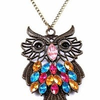 Antique Alloy with Colour Crystal Owl Long Prendant Bronze Necklace~*~:Amazon:Jewelry
