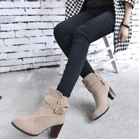 Women Belt Buckle Ladies Faux Boots Ankle Boots High Heels Martin Shoes