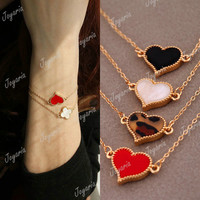 1 pcs Lucky Clover Hearts Alloy Korean Style Bracelet 8 Colours to Choose FJ149