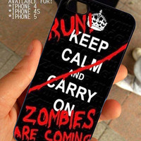 Walking Dead keep calm for iPhone 4 / 4s or 5 case cover, Black or White