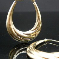 Oval Hoop Earrings Scalloped Sterling Silver Gold Overlay -