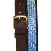 Men's Vineyard Vines Whale Print Leather & Canvas Belt,