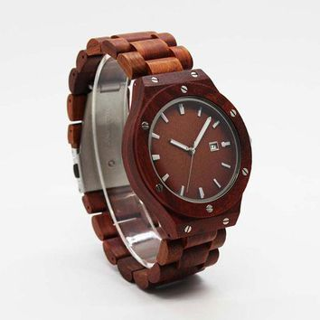 Wooden Men Watch Top Brand All sandalwood Unique Design Clock Man With Luxury Wood Watches Calendar For Male