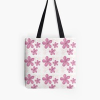 'Plain Pink Floral Pattern' Tote Bag by Carmen Ray Anderson
