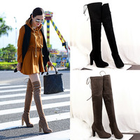 Women Stretch Slim Thigh High Boots Sexy Fashion Over the Knee Boots High Heels Woman Shoes Black Gray Winered