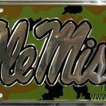 Mississippi Rebels Ole Miss CAMO TC Metal License Plate Tag University of