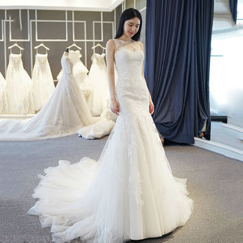 WB516 Tulle Wedding Dress Plus Size Robe De Mariee Bride Wedding Gown Appliques Lace Country Western Mermaid Wedding Dresses