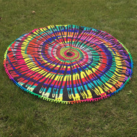 Bohemia Chiffon Psychedelic Multi Color Round Beach Throw, Yoga Mat, Home Decor Large 150cm
