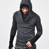 DFine Lifestyle Built-in Warmer Wool Turtle Hood-Knit