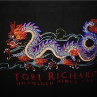 TORI RICHARD HAWAIIAN SHIRTS  VTG CASUAL EMBROIDERY DRAGON!SILK!SIZE L !