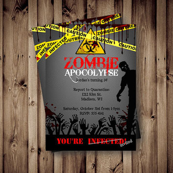 Zombie Birthday Invitation Zombie Party Apocalypse red yellow printable boys scary birthday zombies halloween birthday invite 5x7 printable