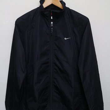 Vintage NIKE Hip Hop Swag Streetwear Jacket Windbreaker Black Color Size L