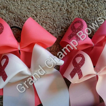 Breast Cancer Awareness Ribbon Cheer Cheerleader Hair Bows Hairbows Pink w/Glitter Bling