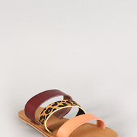 Leopard Leatherette Three Band Flat Sandal