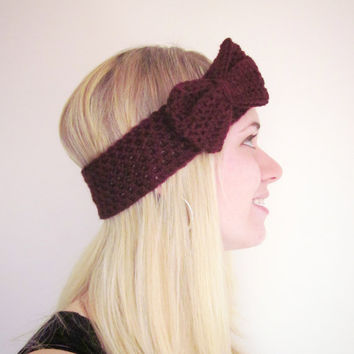 Crochet Bow Ear Warmer Headband in Wine Oxblood