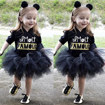 Baby Girls Princess Dress Kids Party Hooded Golden Letter Famous Print Pageant Party Children Clothing Summer Tutu Dresses