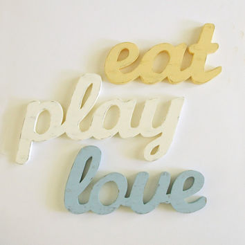 Wood Word Letters. Eat Play Love in Vintage Cottage Style. Antique Yellow, Creamy Ivory, Vintage Blue