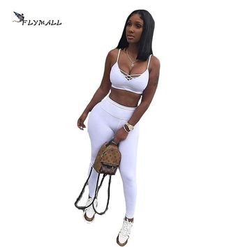 FLYMALL 2017 Tracksuit Women Track Suits V-neck Pure color Crop Top and Pencil Pants 2 Two Piece Set Casual Sweatsuit Set outfit