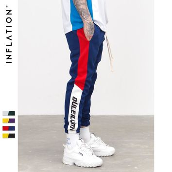 INFLATION 2018 New Autumn Mens Sweatswear Pants Printing Side Stripe Pockets Men Vintage Sweatpants 353W17