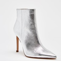 SILVER STILETTO HEEL ANKLE BOOTS DETAILS
