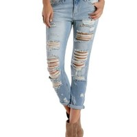 Lt Wash Denim Cropped & Destroyed Boyfriend Jeans by Charlotte Russe