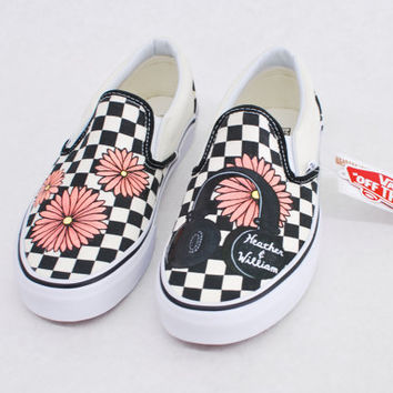 Custom Hand Painted Checkerboard Vans From B Street Shoes