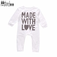 Baby boy girl clothes made with love letter toddler long sleeve bodysuit infant coverall fashion casual stylish kids outfit sale