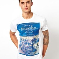 River Island T-Shirt With Amsterdam Bike Print at asos.com